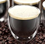 Umigal capuchino de cristal de doble pared/Latte/taza de té juego de 2 Vaso de café y té de vidrio de doble pared
