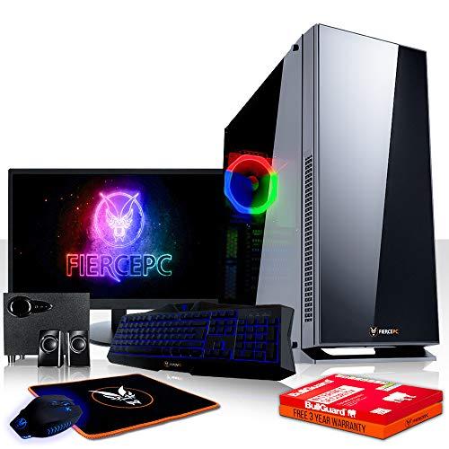 Fierce Hazard High-End RGB Gaming PC Bundeln - 4.2GHz Hex-Core AMD Ryzen 5 2600X, 1TB SSHD, 16GB, AMD Radeon RX 570 4GB, Tastatur (QWERTZ), Maus, 24-Zoll-Monitor, Lautsprecher 1127331