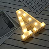 Lettere Decorative NHSUNRAY LED alfabeto di plastica bianche lampade Applicare a Party Halloween Bar Club Casa Cucina Giardino Camera Decorazione Caffè (A)