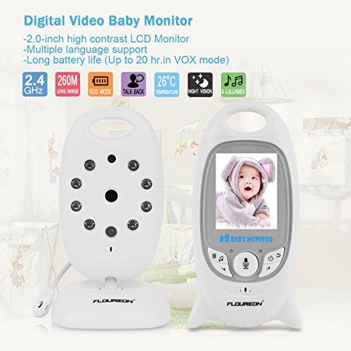 FLOUREON Babyphone mit Kamera Digital Video Baby Monitor Gegensprechfunktion 2-Wege Audio Überwachungskamera Nachtsicht 8 Schlaflieder Temperatursensor - 6
