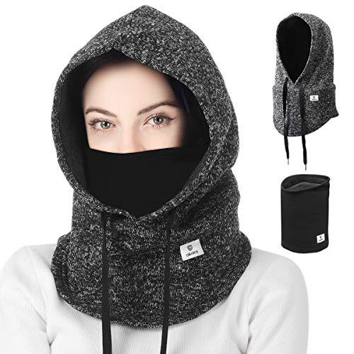 Leyuee Balaclava Gesichtsmaske Halswärmer Winddichte Ski Maske Geeignet für Wintersport und Outdoor-Aktivit (Gray+Black)