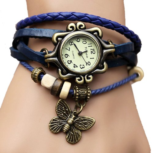 51uUgVCKZUL - BEST BUY #1 WAWO Fashion Accessories Trial Order New Quartz Fashion Weave Wrap Around Leather Bracelet Lady Woman Wrist Watch Blue Reviews and price compare uk