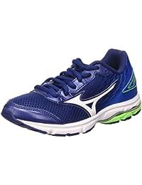 Mizuno  Wave Rider 19 Jr, Chaussures de Running Compétition garçon - Bleu - Blue (Twilight Blue/White/Skydiver), 38.5