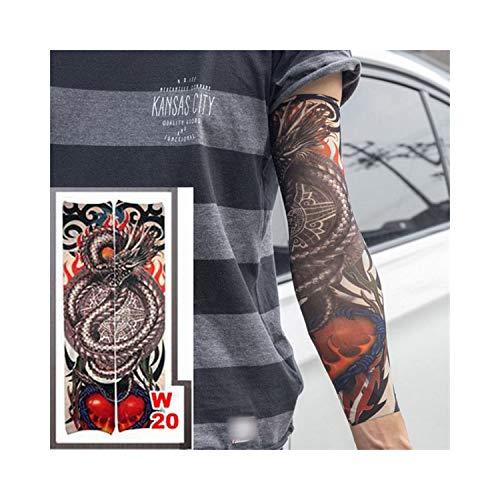 rmel,Motorradhülle Sonnenschutz, New Fashion High Quality Fake Temporary Tattoo Arm Sleeves Dragon Love Design Reuse Unisex Fake Slip On Tattoo Arm Sleeves Kit w20 ()