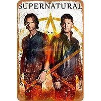 Supernatural Poster Cartel de Chapa Retro, Cartel de Pared, Placa de Metal Vintage, Garaje, Oficina, Bar, cafetería, decoración, 20 × 30 cm