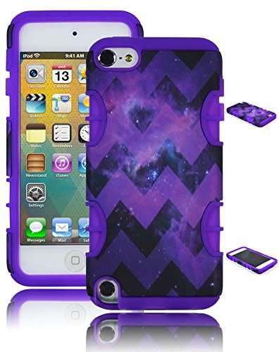 Bastex Heavy Duty Hybrid Case für Apple iPod Touch 5 - Neon Violett Silikon mit Lila Space Chevron Design Hard Shell Cover