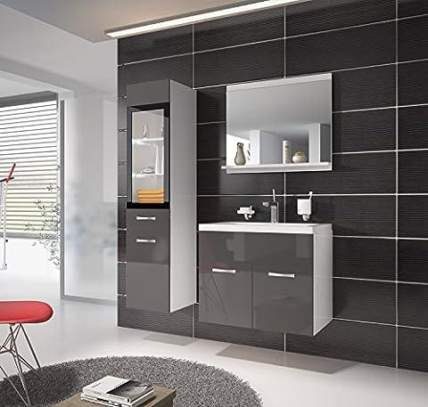Badezimmer Badmöbel Rio LED 60 cm Waschbecken Hochglanz Grau Fronten - Unterschrank Hochschrank Waschtisch Möbel