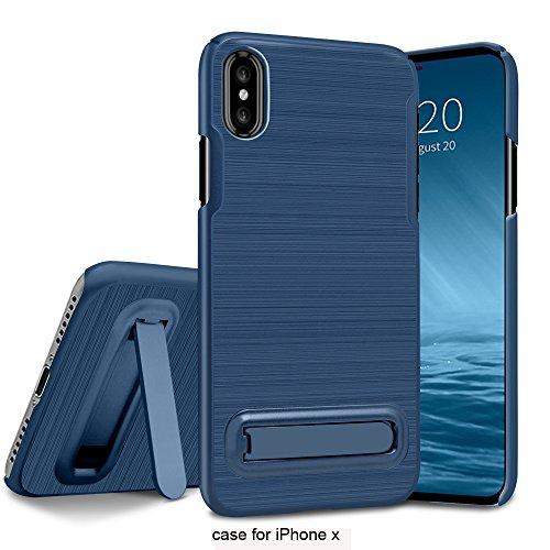 Cover iPhone X, Custodia iPhone X, Custodia Durevole Ibrido Doppio Strato Corpo Completo Difensore Custodia Protettiva Sostenitore Metallo per iPhone X blu