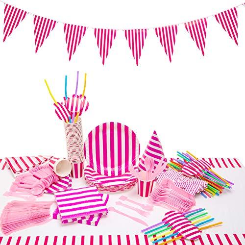 kingmate 203-Teiliges rote und weiße Streifen Party Set für 40 Personen Geburtstagsdeko Tischdeko, Pappteller, Pappbecher, Servietten, Geburtstag Augenklappen, Tischdecke. (Und Weiße Rote Pappteller)