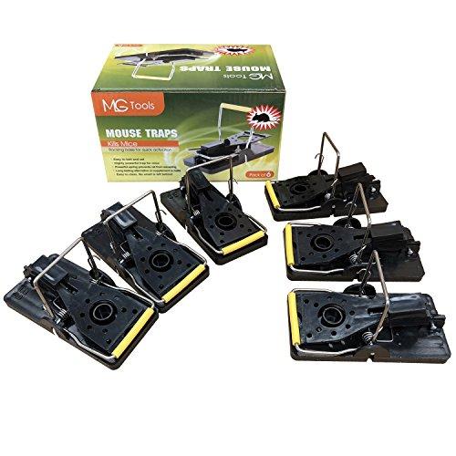 MLG Tools Mausefalle 6 Pack Frühlingsgeladene Bar Trap Kill Catch Mäuse, Quick Set Wiederverwendbare Maus Control Snap Traps