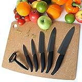 Mega Paquete de 5 x VEJB cuchillos de cerámica y pelador de cerámica negro 1 x VEJB