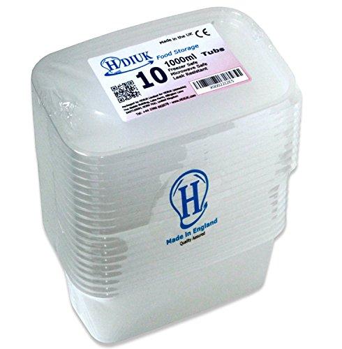 HDIUK Boîtes et couvercles en plastique qualité alimentaire compatible micro-ondes / congélateur. Préparez à l'avance des chilis, pâtes, riz, currys, pommes de terre et bien plus encore, Plastique, 10 X-Large 1000ml