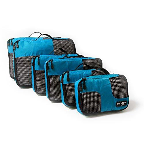 TraLight Packing Cubes   Packwürfel   Packtaschen   Kleidertaschen für Koffer, Reisetasche, Handgepäck, Rucksack, Sporttasche   6 teiliges Set (Blau)