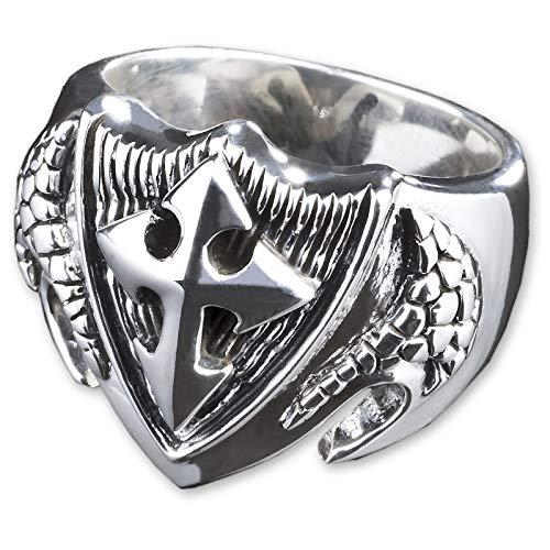 viva adorno Herren Ring Kreuz Wappen Tempelritter Siegelring 925 Sterlingsilber SR33, Gr. 69