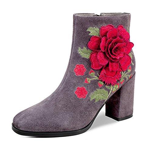 Les Meilleures 4u (md) Chaussures Pour Femmes Bottes De Pluie D'hiver En Daim Chunky Talon Bottines Avec Bout Arrondi Bottines Fleur Broderie Grise