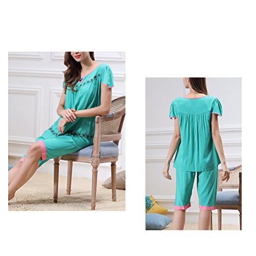 Zhhlinyuan Summer Womens Short sleeves Classic Round Neck Sleepwear Set M5234 Lake Green