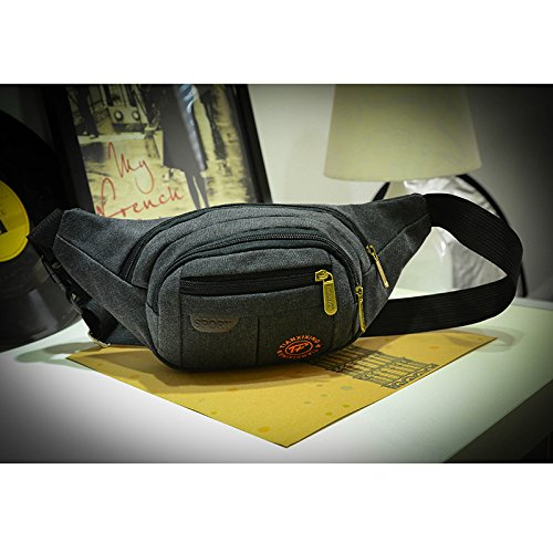 ZYT Drucken Leinwand mit Reißverschluss Brust Taschen kleine Ranzen Sporttasche Rucksack Black