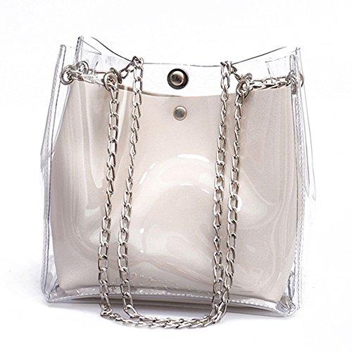 TOOGOO SODIAL (R) Frauen Kleine Eimer Taschen Kunststoff Transparent Totes Verbundkette Tasche Weibliche Mini Gelee Handtaschen Weiss -