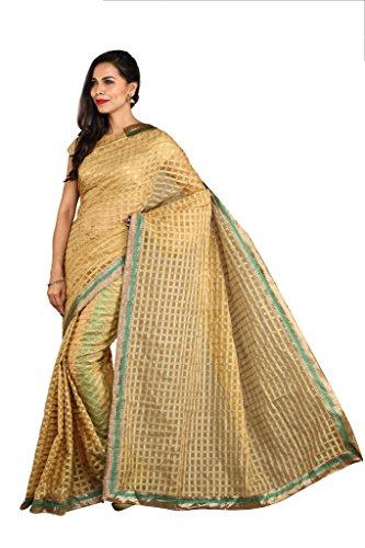 Parchayee Women's Kota Net Saree (Woven Checkered_Beige_Free Size) 94546A