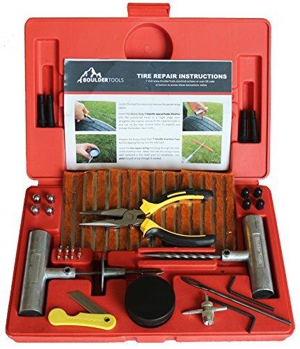 Boulder Tools, robusto kit di riparazione pneumatici,set da 56 pezzi per moto, ATV, jeep, camion, trattori, per riparare la foratura dello pneumatico