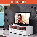 "UEnjoy Modern 39.3"" White TV Stand Unit Cabinet High Gloss Doors +LED"