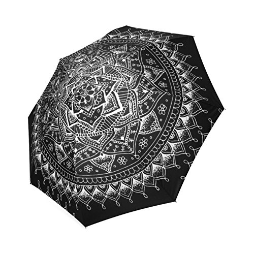 Personalizado blanco flor mandala en color negro Fashion plegable paraguas