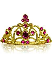 Diadema Corona con Pietre Coroncina Tiara da Principessa per Bambine e Ragazze per Halloween, Compleanno, Carnevali e Feste - Oro/Rosa scuro
