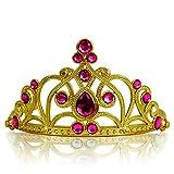 Katara 1682 - Prinzessin Diadem Krone, Verkleidung Kostüm, Fasching Karneval, Haarspange, Gold/Dunkelrosa