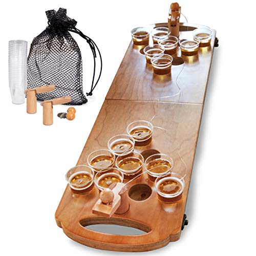 Sharper Image Mini Beer Pong Tisch-Tisch, 25 Tassen und Bälle Set mit Löchern, inkl. Tragetasche/Tasche, tragbar und faltbar für Innen- und Außenpartys, Heckklappen, Pool, College -