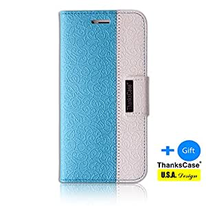 Galaxy S6 Case,Thankscase Galaxy S6 Wallet Case Slim Case with a Bonus Screen Protector, with the Great Pattern for Galaxy S6 2015.(Teal Blue)