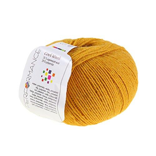 maDDma ® Strickgarn Cool Wool 50g 75% Superwash Wolle Handstrickgarn pflegeleicht, Farbe:Mango