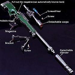 Llavero - 27 CM AWM Rifle de Francotirador Modelo de Juguete de Aleación -Juguetes de Réplica de Armas para Niños Adultos, Decoraciones, Manualidades- Vista + Silenciador + Soporte + Cargador