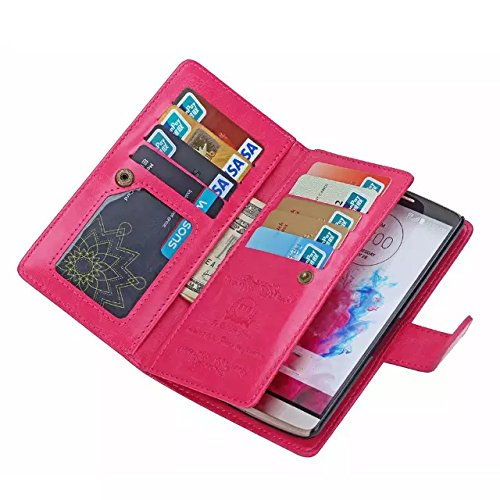 iPhone 6 Case,iPhone 6 Detachable Wallet Case,Soundmae Zipper Cash Storage Multi-function 2-in-1 Magnetic Separable Wallet Case Flip Cover With Credit Card Holder for iPhone 6[Pink] Rosarot
