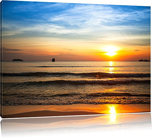 malibu-beach-sunrise-water-sand-painting-on-canvas-100x70-cm-usa-xxl-pictures-completely-framed-with
