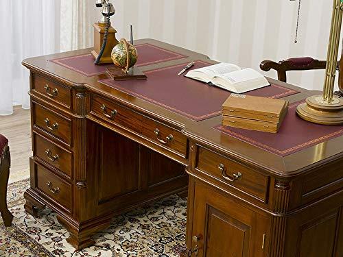 Simone Guarracino Partner Schreibtisch Victorian Englischer Stil Büro Doppelschreibtisch 180 cm walnuss Kunstleder Bordeaux