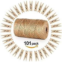 328 Pieds Ficelle de jute et 100 pièces Mini en bois naturel Craft Absofine Pinces à linge Craft Pinces à linge Clips pour jardinage Applications, arts Crafts Cadeau de Noël
