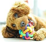 Fully Hunde Katze Quietschspielzeug Kauspiezeugl Zerrspielzeug Kauball Hundespielzeug Ball Zahnreinigung Zahnpflege (Durchmesser: 9cm) - 2