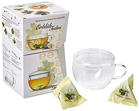 Creano Abloom-Tealini 8 Piece Flowering, Blooming Flavoured Cup Sized White Tea with Glass-Tea Cup 200ml Gift Set