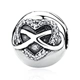 Everbling Halskette Infinity Herz mit klaren CZ Clip 925Sterling Silber Bead Passt Pandora Charme Armband