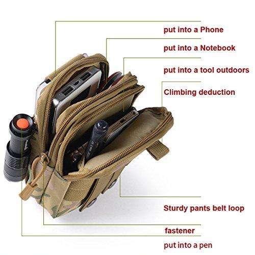 Nylon Taktisch Molle Tasche Pack Mehrzweck Compact Edc Utility Gadget Gürtel Wasserdicht Nylon Camo Taille Tasche Outdoor Nylon Zipper Pouch Purse Mit Handy Holster Für Camping Wandern Ac camouflage