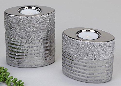 formano Teelichthalter aus relifiertem Keramik mit Silberstreifen, 2er Set