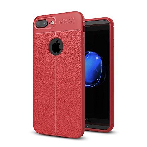 DBIT iPhone 7 Plus / iPhone 8 Plus Custodia ,Coperchio di Protezione Compatto Litchi pelle con Cassa Antiurto in Silicone Ultra Morbido e Leggero TPU Case Cover + 1 Pellicola Protettiva per iPhone 7 P Rosso