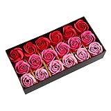 Beauty7 Boite 18 Boutons Fleurs Violet Savon de Rose Pour Les Main Bain Corps Romantique Cadeaux - Rose