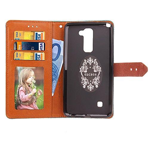 EKINHUI Case Cover European Mural Embossed Style Flip Stand Decke Geldbörse Tasche mit Nivellier Leder Gürtelschnalle für LG Stylus 2 ( Color : Rosegold ) Rosegold