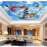 BIZHIGE Mur DePlafond Plafond 3D Plafonds Murale Blanc Nuage Fond D'Écran pour Salon Et Chambre À CoucherMurales3DBleu Papier Peint Autocollant-300 × 200Cm