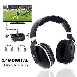 Headphones for TV Digital Wireless Over-Ear Artiste 2.4GHz UHF/RF for TV Listening,Rechargeable 20 Hour Battery and Headphones Charging Dock-Black