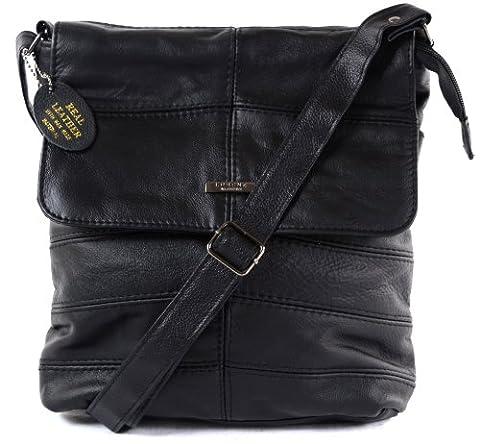 Ladies Leather Cross Body Bag / Shoulder Bag ( Black )