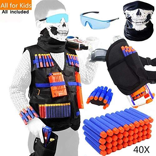 Meiqils 45pcs Einsatzwestenset für Nerf-Spielzeugwaffen N-Strike Elite Serie mit Gesichtsmaske + Windproof Schutzbrille + 40 Dart Nachfüllpack + 1 Handgelenk Bandolier+1Kinder Taillen-Beutel