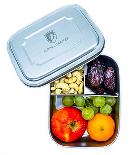 Edelstahl LunchBox für Kinder und Erwachsene von ALPIN LOACKER - Brotdose, Bento Box 1000ml | mit Fächern, Trennwand | Die perfekte größe für Ihre Lebensmittel.