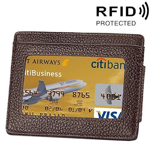 Hhpcspc Rindsleder Einfarbig Kartenhalter Brieftasche RFID Blocking Card Bag Schützen Fall mit 3 Kartensteckplätze & Bilderrahmen, Größe: 110 * 77 * 4mm Unisex (Farbe : Kaffee) -